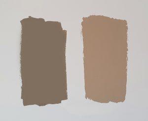 Trendkleuren 2021 Brave Ground en Sandstone Beige naast elkaar op de muur getest